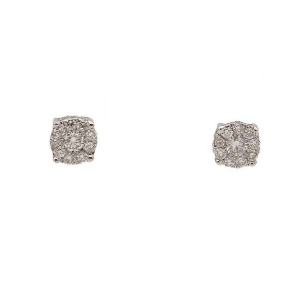 Pendientes de oro blanco y diamantes  - 1