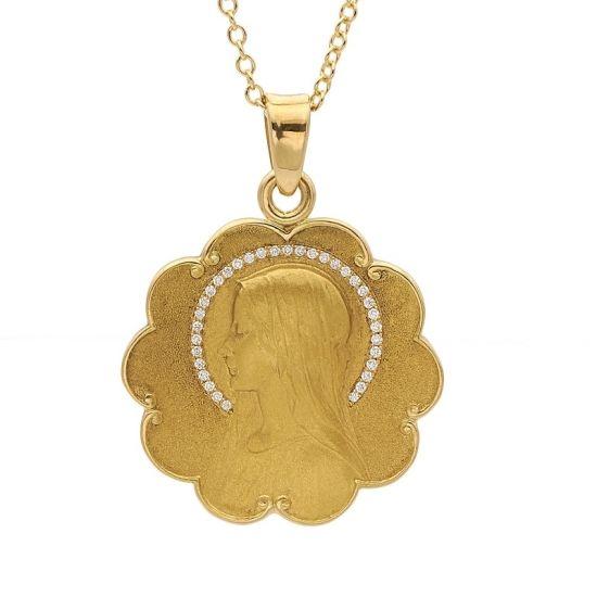 Medalla de oro amarillo y diamantes  - 1