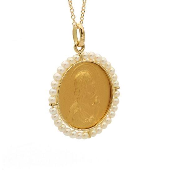 Medalla de oro amarillo y perlas  - 1