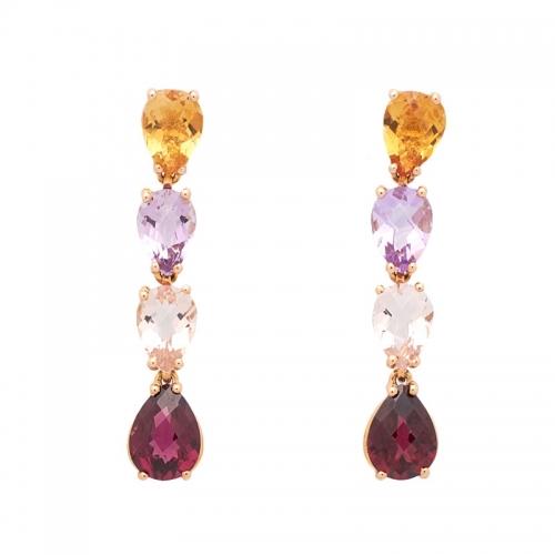 Pendientes de oro rosa y piedras semipreciosas  - 1