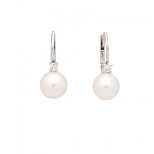 Pendientes de oro blanco, perla y brillantes  - 1