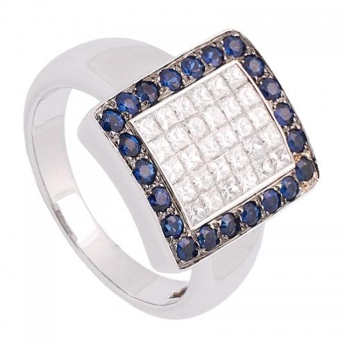 Sortija de oro blanco diamantes y zafiros.  - 1