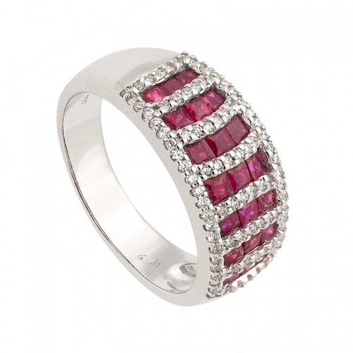 Sortija de oro blanco, diamantes y rubíes  - 1