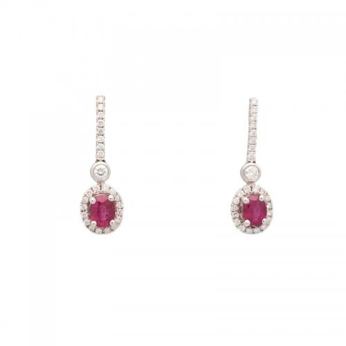Pendientes largos de oro blanco con rubíes y diamantes  - 1