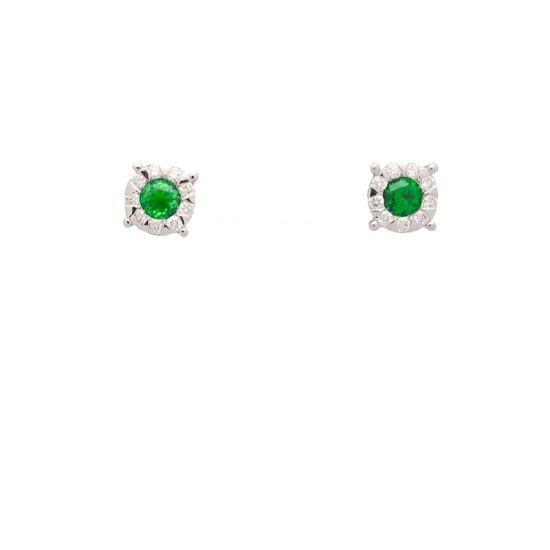 Pendientes de oro blanco con esmeraldas y diamantes.  - 1