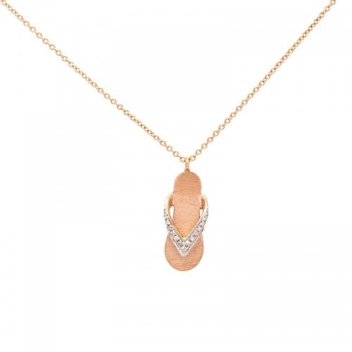 Cadena de oro rosa con colgante  - 1