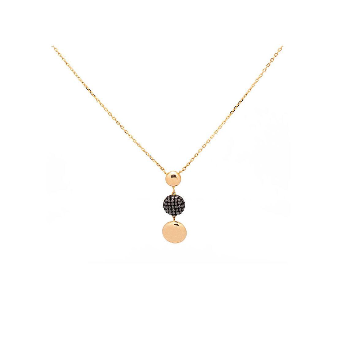 Gargantilla oro rosa con diamantes negros  - 1