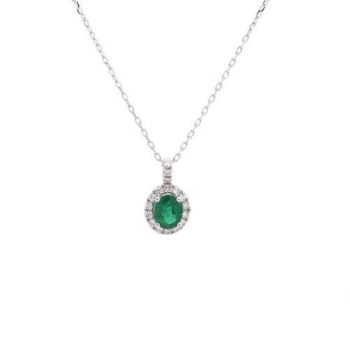 Cadena de oro blanco, esmeralda y diamantes  - 1