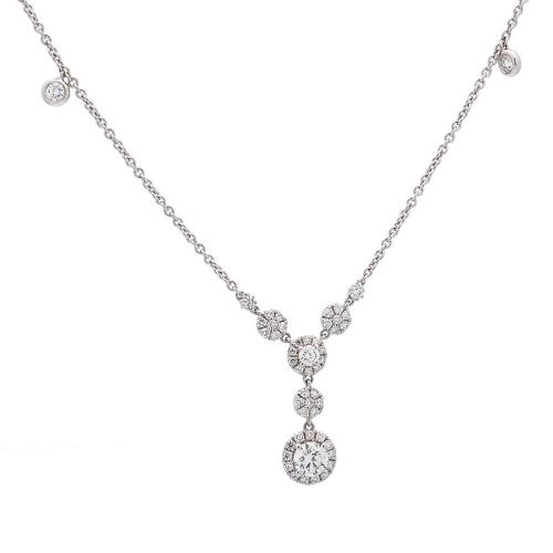 Cadena de oro blanco con diamantes  - 1