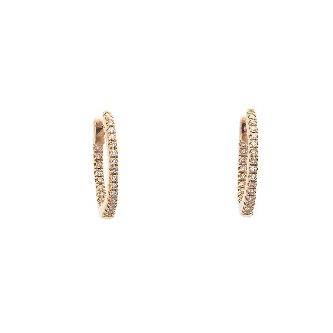 Pendientes de oro amarillo con diamantes  - 1
