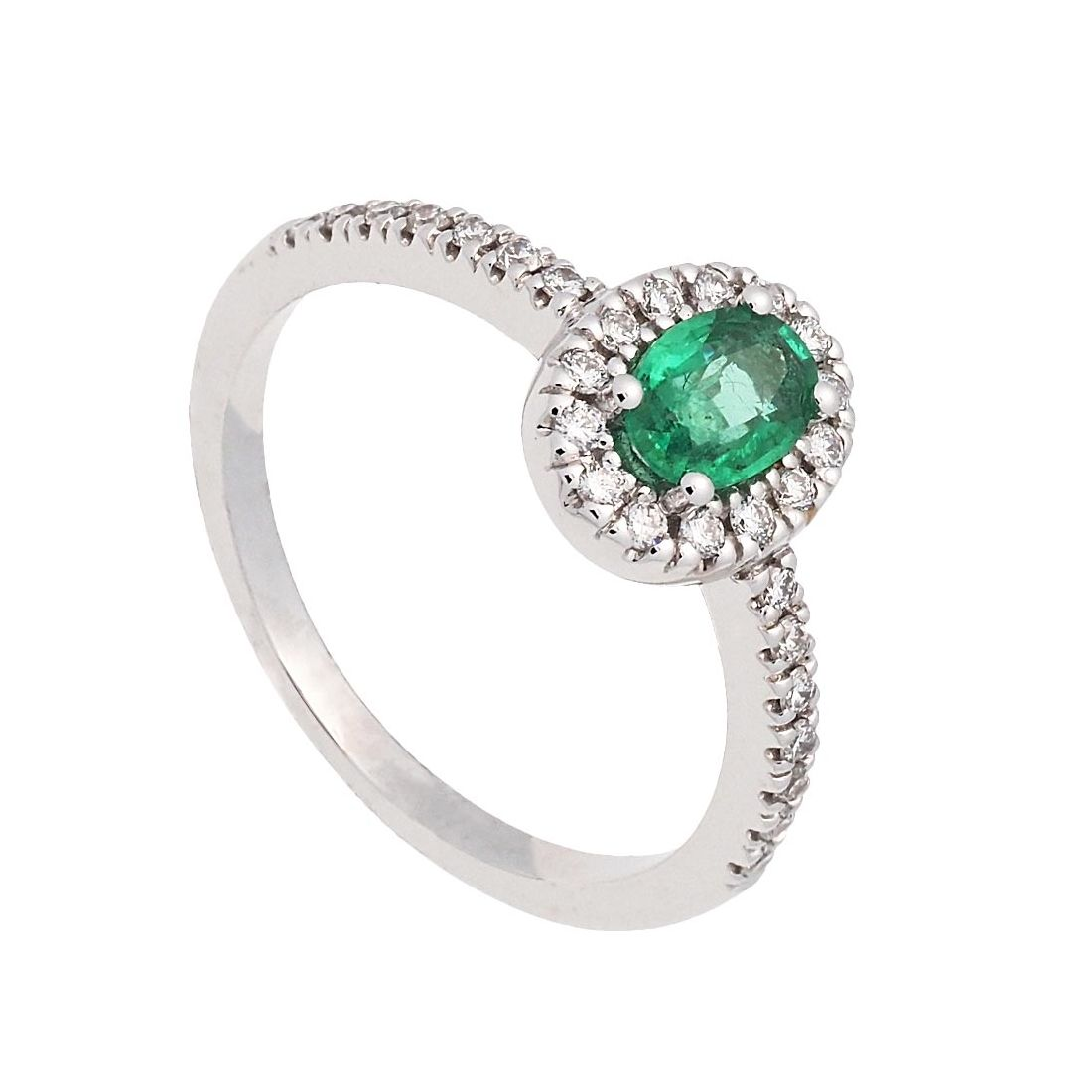 Sortija oro blanco, esmeralda y diamantes  - 1