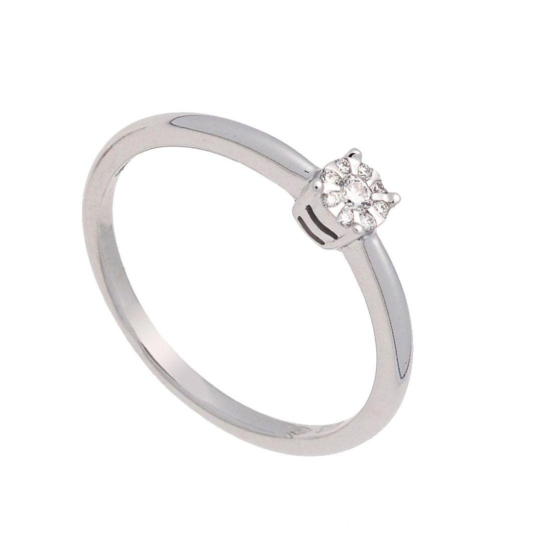 Sortija oro blanco y diamantes  - 1
