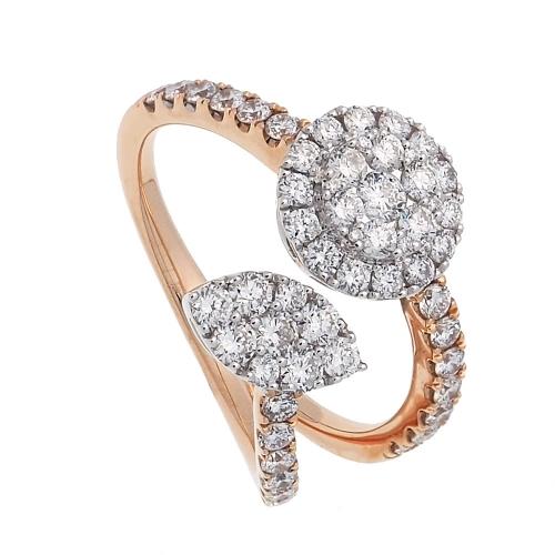 Sortija oro rosa y blanco con diamantes  - 1