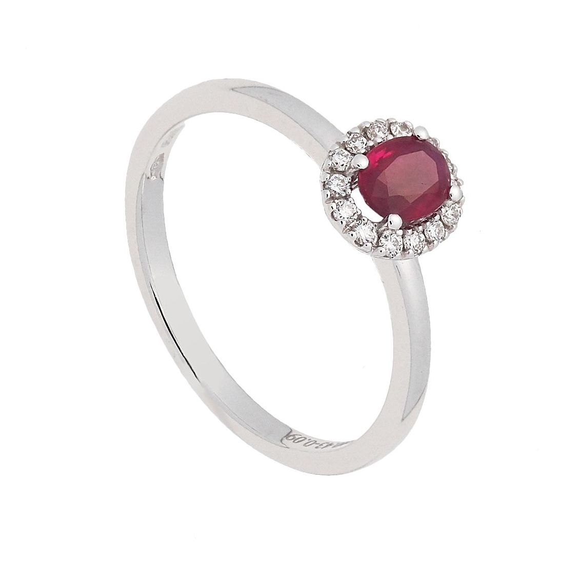 Sortija oro blanco rubí y diamantes  - 1