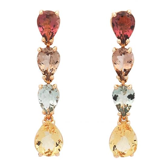Pendientes de piedras de color y oro amarillo  - 1