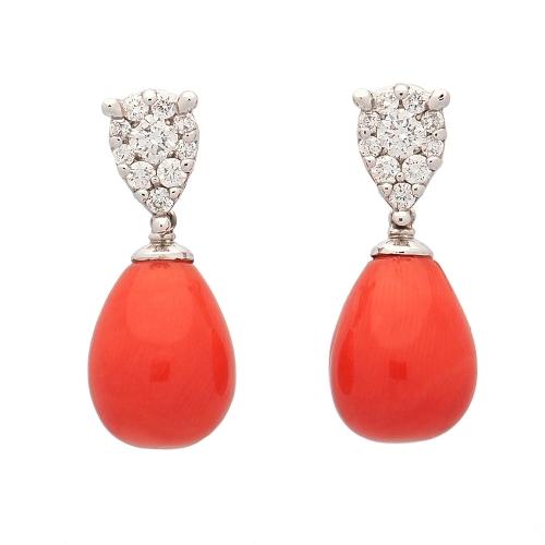 Pendientes de coral rojo y diamantes  - 1