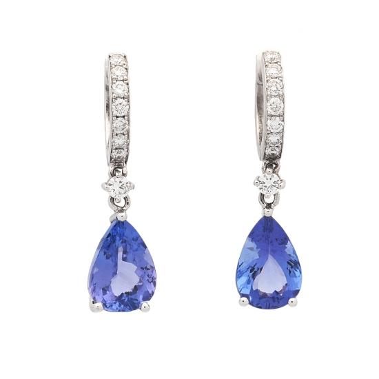 Pendientes de diamantes y tanzanitas  - 1