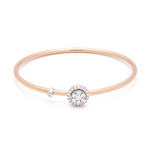Pulsera de oro rosa y blanco con diamantes  - 1