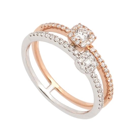 Sortija doble en oro bicolor con diamantes  - 1