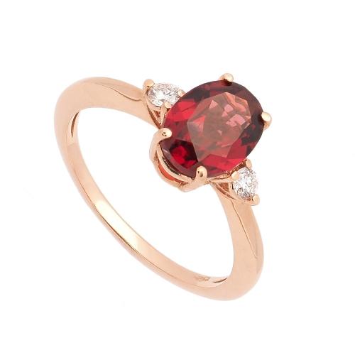Sortija de oro rosa con rodolita y diamantes  - 1