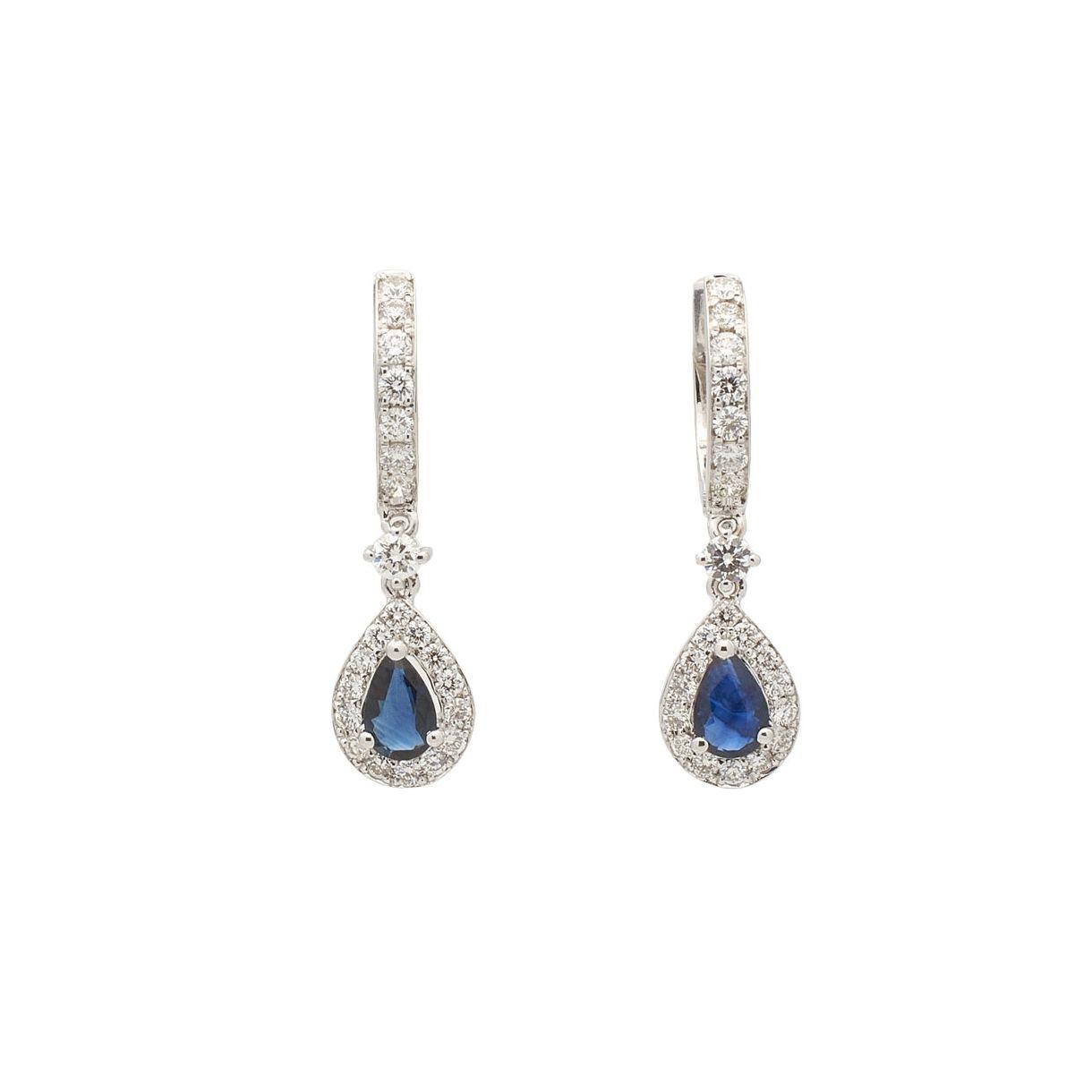Pendientes de oro blanco con zafiros y diamantes  - 1