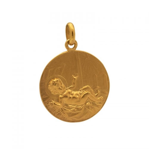 Medalla con imagen de niño entre pajas  - 1