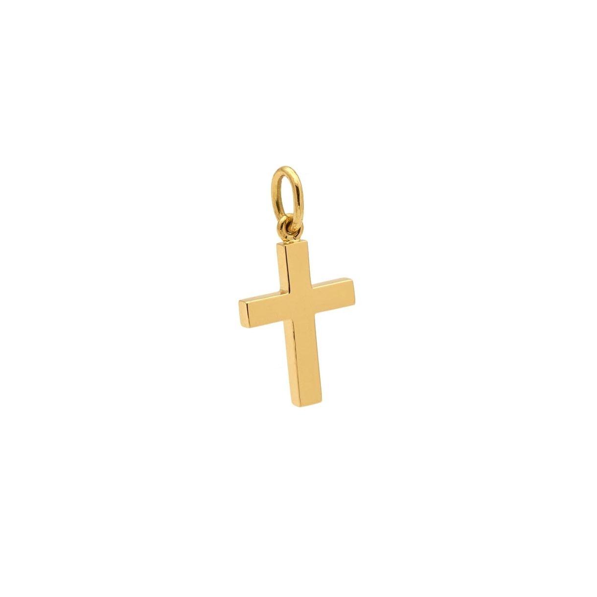 Cruz maciza de oro amarillo  - 1