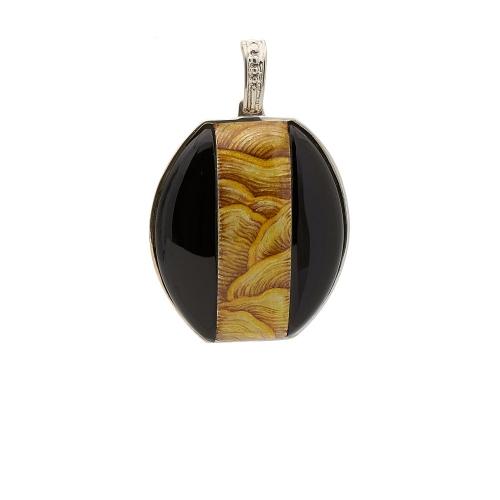 Colgante Petra en negro y ocre  - 1