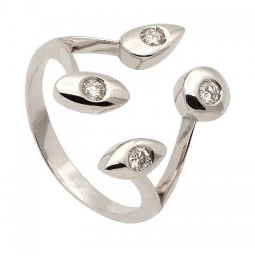 Sortija con diamantes de diseño abierto con ramificaciones  - 1