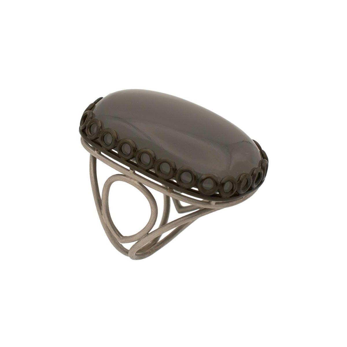 Sortija con piedra luna gris  - 1